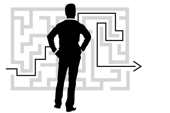Kunde steht vor einem Labyrinth, in das der Lösungsweg von Lefkes Unternehmensberatung eingezeichnet wurde.